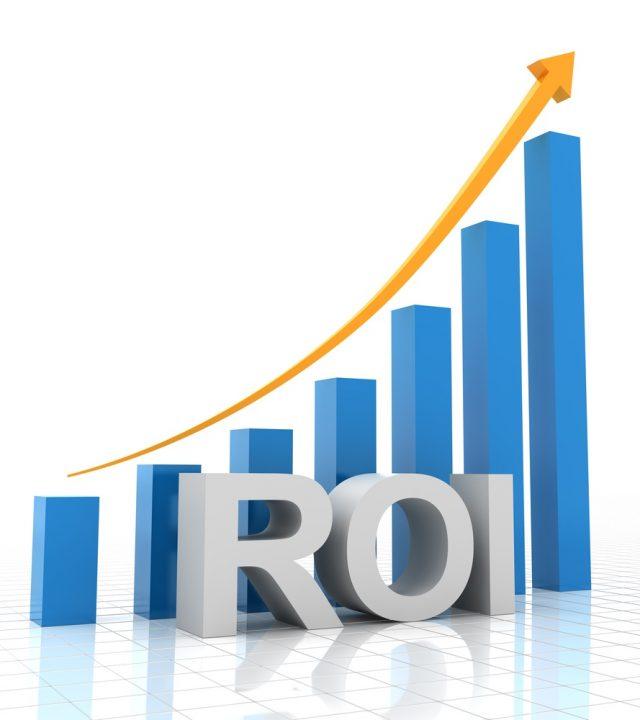 Return on investment chart, 3d render, white background